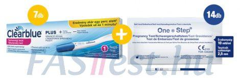 Clearblue PLUS terhességi teszt - 7 db + 14 db One Step TERHESSÉGI tesztcsík - 10 mIU/ml - 2,5 mm széles (AIDE)