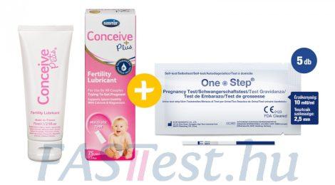 Conceive Plus spermabarát síkosító, kálcium- és magnéziumionnal - 75 ml-es + 5 db One Step TERHESSÉGI tesztcsík - 10 mIU/ml - 2,5 mm széles (AIDE)