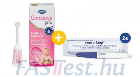 Conceive Plus spermabarát síkosító, kálcium- és magnéziumionnal - 8 db (4 gm-os) előre megtöltött applikátorban + 2 db One Step TERHESSÉGI teszt vizeletsugaras 10 mIU/ml (AllTest)