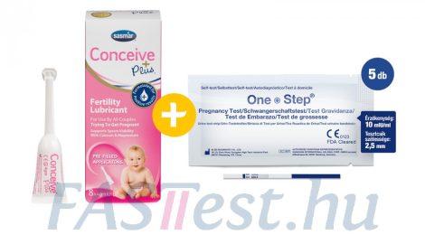 Conceive Plus spermabarát síkosító, kálcium- és magnéziumionnal - 8 db (4 gm-os) előre megtöltött applikátorban + One Step TERHESSÉGI tesztcsík - 5 db - 10 mIU/ml - 2,5 mm széles (AIDE)
