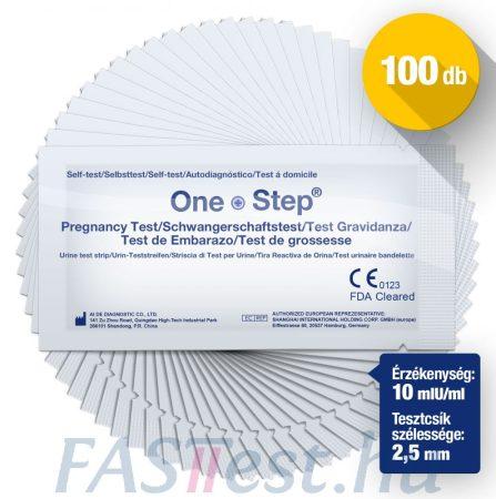 One Step TERHESSÉGI tesztcsík - 100 db - 10 mIU/ml - 2,5 mm széles (AIDE)